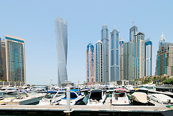 Modern high rise skyscrapers in Marina district of Dubai United Arab Emirates