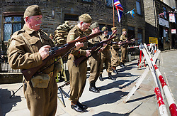 © Paul Thompson licensed to London News Pictures. 15/05/2015. Haworth, West Yorkshire, UK. Volunteers dressed as a Home Guard Platoon at Haworth 1940s weekend, an annual event in which people dress in period costume and visit the village of Haworth to relive the 1940s. Photo credit : Paul Thompson/LNP