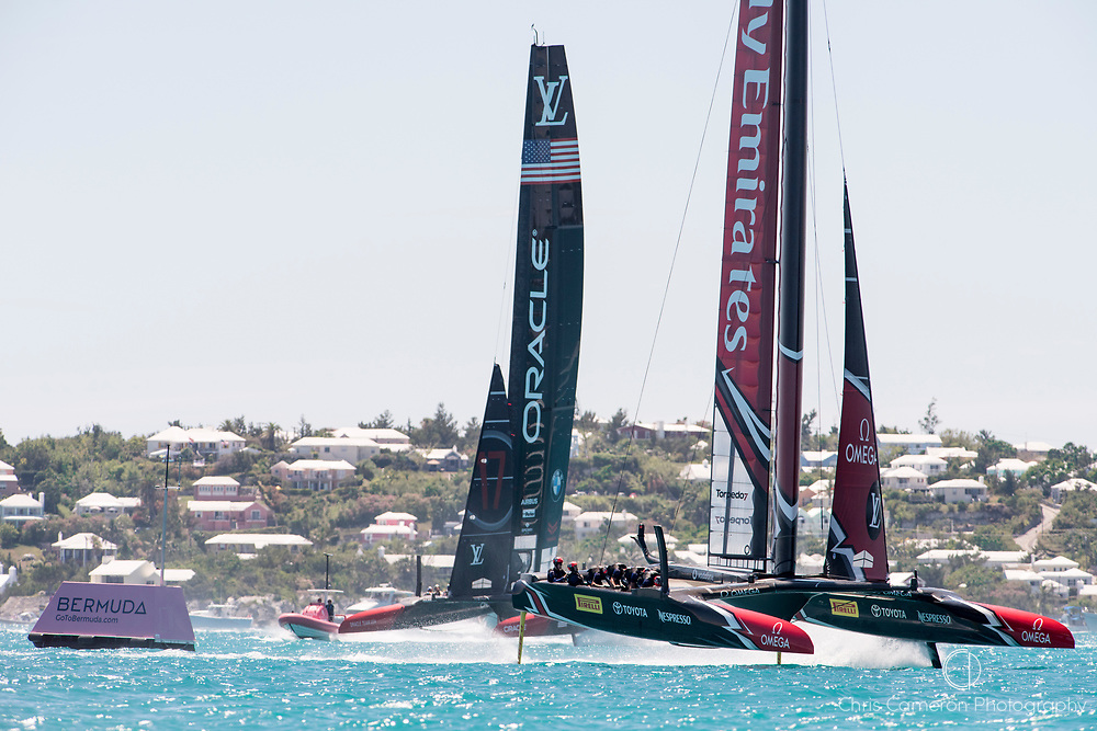 The Great Sound, Bermuda, 25th June 2017. Emirates Team New Zealand win the start of race eight and round mark one well ahead of Oracle Team USA. Day four of racing in the America's Cup presented by Louis Vuitton.