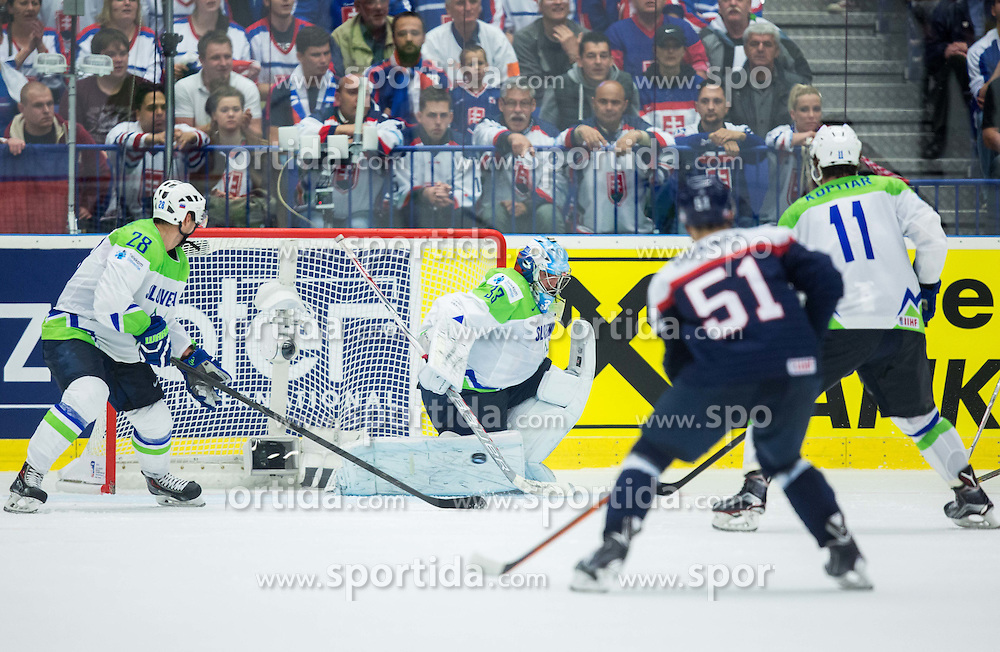 Ales Kranjc of Slovenia, Robert Kristan of Slovenia, Dominik Granak of Slovakia and Anze Kopitar of Slovenia during Ice Hockey match between Slovakia and Slovenia at Day 5 in Group B of 2015 IIHF World Championship, on May 5, 2015 in CEZ Arena, Ostrava, Czech Republic. Photo by Vid Ponikvar / Sportida