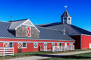 Pineland Farms Equestrian Center barn, New Gloucester, Maine, USA.