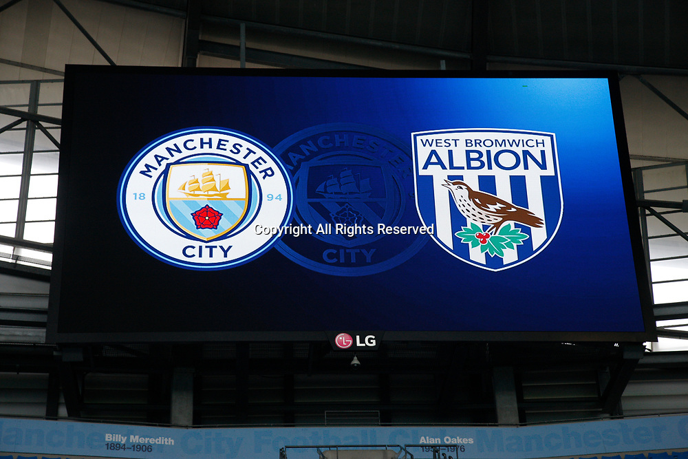 May 16th 2017, Etihad Stadium, Manchester, England; EPL Premier League football, Manchester City versus West Bromwich Albion; The large format display at the Manchester City's Etihad Stadium before tonight's game