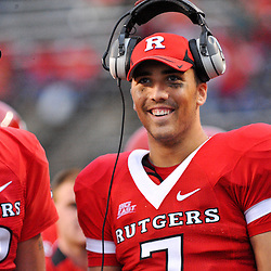 Sep 12, 2009; Piscataway, NJ, USA; Rutgers quarterback Tom Savage (7) watches the game from the bench during the second half of Rutgers' 45-7 victory over Howard in NCAA college football at Rutgers Stadium