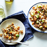 lentil and quinoa salad with roasted squash and sweet potato