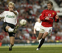 Photo Aidan Ellis, Digitalsport<br /> NORWAY ONLY.<br /> Manchester United v Liverpool.<br /> FA Barclaycard Premiership.<br /> 24/04/2004.<br /> Manchester's Ole Gunnar Solskjær and Liverpool's Sami Hypia