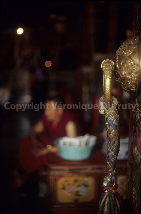 DETAIL OF A RELIGIOUS OBJECT, JAMPA LHAKHANG TEMPLE (BARKHOR CIRCUIT), LHASA, TIBET