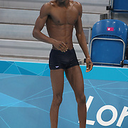 An unidentified swimmer training at the Aquatic Centre at Olympic Park, Stratford during the London 2012 Olympic games preparation at the London Olympics. London, UK. 25th July 2012. Photo Tim Clayton