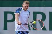 Andrey Golubev from Kazachstan competes in men's single round first while Day Third during Roland Garros 2014 at Roland Garros Tennis Club in Paris, France.<br /> <br /> France, Paris, May 27, 2014<br /> <br /> Picture also available in RAW (NEF) or TIFF format on special request.<br /> <br /> For editorial use only. Any commercial or promotional use requires permission.<br /> <br /> Mandatory credit:<br /> Photo by &copy; Adam Nurkiewicz / Mediasport