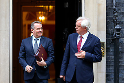 © Licensed to London News Pictures. 18/10/2016. London, UK. Secretary of State for Exiting the European Union DAVID DAVIS and International Trade Secretary LIAM FOX attend a cabinet meeting in Downing Street on Tuesday, 18 October 2016. Photo credit: Tolga Akmen/LNP