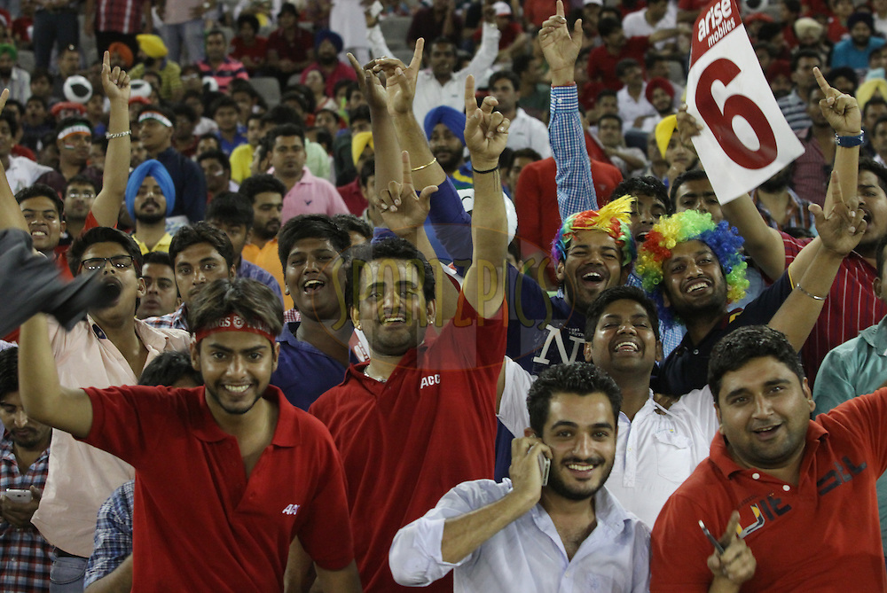 Crowd during match 48 of the Pepsi Indian Premier League Season 2014 between the Kings XI Punjab and the Mumbai Indians held at the Punjab Cricket Association Stadium, Mohali, India on the 21st May  2014<br /> <br /> Photo by Arjun Panwar / IPL / SPORTZPICS<br /> <br /> <br /> <br /> Image use subject to terms and conditions which can be found here:  http://sportzpics.photoshelter.com/gallery/Pepsi-IPL-Image-terms-and-conditions/G00004VW1IVJ.gB0/C0000TScjhBM6ikg