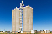 Grain silos rail transport depot in Wallumbilla in rural country Queensland, Australia.