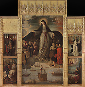 Triptych altarpiece, Virgen de los Mareantes, or Madonna of the Seafarers, 1531–36, by Alejo Fernandez, 1475-1545, with the Virgin sheltering a group of Native Americans under her cloak, with 4 saints including St Sebastian and St James, in the Sala de Audiences, or Chapterhouse, now used as a chapel, in the Real Alcazar, a Moorish royal palace in Seville, Andalusia, Spain. The Alcazar was first founded as a fort in 913, then developed as a palace in the 11th, 12th and 13th centuries and used by both Muslim and Christian rulers. The Alcazar is listed as a UNESCO World Heritage Site. Picture by Manuel Cohen