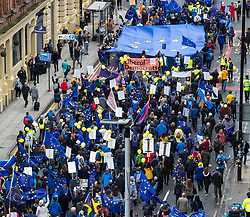 © Licensed to London News Pictures . 01/10/2017. Manchester, UK. Thousands of people take part in an anti Brexit pro EU demonstration and march in Manchester during the Conservative Party Conference , which is taking place at the Manchester Central Convention Centre . Photo credit: Joel Goodman/LNP