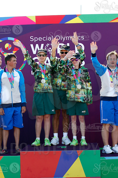 1 August 2015: Special Olympic World Games Los Angeles Sailing Finals in Long Beach, California.  Team Australia Alyse Saxby, Melissa Nelson and Unified partner Christopher Rushton celebrate first place on the winners podium.