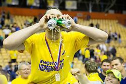 Luka Zvizej of Celje PL celebrates after winning during handball match between RK Celje Pivovarna Lasko and RK Gorenje Velenje in 3rd Round of Final of 1st NLB League and Slovenian National Handball Championship 2014/15, on May 28, 2015 in Arena Zlatorog, Celje, Slovenia. RK Celje Pivovarna Lasko won 3rd time and became Slovenian National Champion 2015. Photo by Vid Ponikvar / Sportida