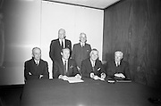 22/08/1966<br /> 08/28/1966<br /> 22 August 1966<br /> Press conference to announce an alliance of three Irish Banks at the Intercontinental Hotel, Dublin. The Boards of the Munster and Leinster Bank Ltd.; Provincial Bank of Ireland Ltd. and the Royal Bank of Ireland Ltd. announced the scheme for the alliance creating a new Irish Banking Group. Each bank was to retain its own identity within the group that became Allied Irish Bank, AIB. Picture shows: members of the new holding company, Front row l-r: Mr. J.W. Freeman, Vice-Chairman of the new company and Chairman of Provincial Bank of Ireland Ltd.; Mr. E.M.R. O'Driscoll, Chairman of the new company and Director of Munster and Leinster Bank Ltd.; Mr. C.F. Murphy, Chairman of Munster and Leinster Bank Ltd. and Mr. R.T.D. Langran, Director and General manager of Munster and Leinster Bank Ltd. Standing are; Mr. Desmond Butler, Deputy Chairman of Royal Bank of Ireland Ltd. and Mr. B.C. Harty, Director and General Manager of Munster and Leinster Bank Ltd.