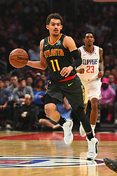 January 28, 2019 - Los Angeles, CA, U.S. - LOS ANGELES, CA - JANUARY 28: Atlanta Hawks Guard Trae Young (11) brings the ball up the court during a NBA game between the Atlanta Hawks and the Los Angeles Clippers on January 28, 2019 at STAPLES Center in Los Angeles, CA. (Photo by Brian Rothmuller/Icon Sportswire) (Credit Image: © Brian Rothmuller/Icon SMI via ZUMA Press)