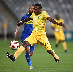 Cape Town-180818 Golden Arrows striker Siboniso Conco challenged by Ebrahim Seedatof  Cape Town City  in a PSL match at Cape Town Stadium .photograph:Phando Jikelo/African News Agency/ANA