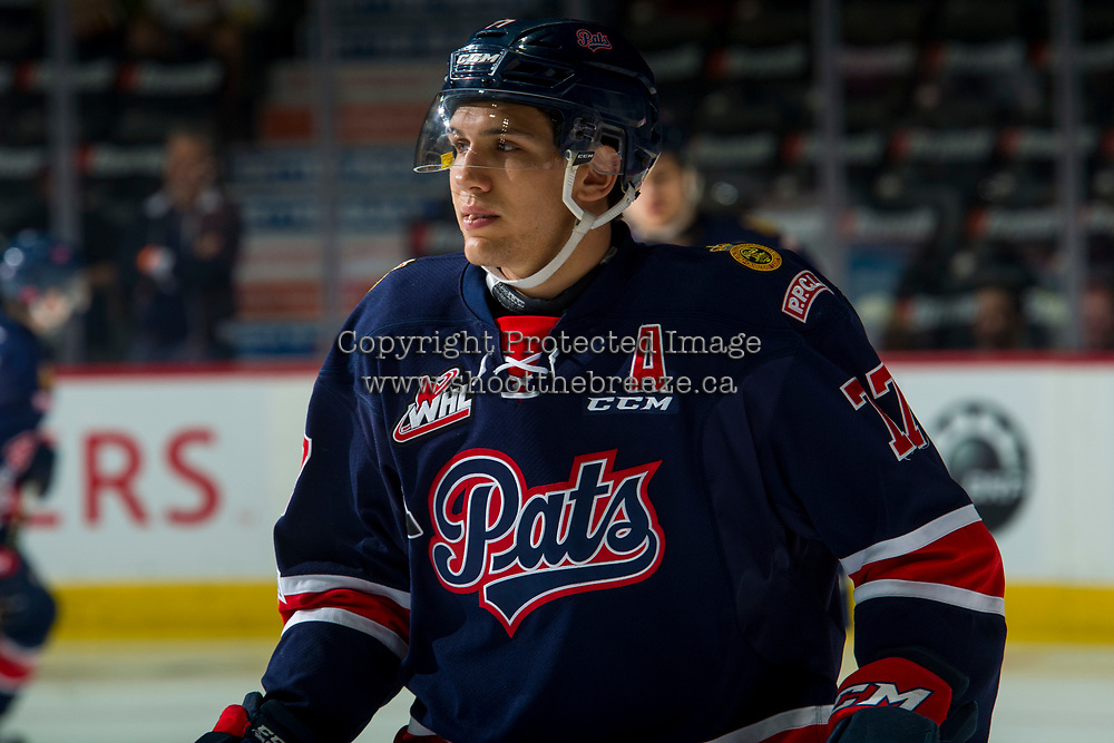 REGINA, SK - MAY 25: Matt Bradley #77 of Regina Pats warms up against the Hamilton Bulldogs at the Brandt Centre on May 25, 2018 in Regina, Canada. (Photo by Marissa Baecker/CHL Images)