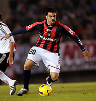 RIVER PLATE (2) Vs. SAN LORENZO de Almadro (2) for the soccer match in the Copa Libertadores at River Plate Stadium.<br /> SAN LORENZO move to next round after classification in a (4-3 aggregate)<br /> Buenos Aires, Argentina May 8, 2008.<br /> SAN LORENZO player GASTON AGUIRRE.<br /> © Gabriel Piko / PikoPress