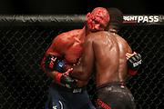 Donald Cerrone (left) fights Leon Edwards during UFC Fight Night Singapore at Singapore Indoor Stadium, in Singapore.