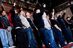Red Tigers, fans of Slovan during the 1/ 8 Men's European Handball Challenge Cup match between RD Slovan, Slovenia and Ystads IF, Sweden, on February 21, 2009 in Arena Kodeljevo, Ljubljana, Slovenia. Slovan defeated Ystads 37-27 and qualified to quarterfinals. (Photo by Vid Ponikvar / Sportida)