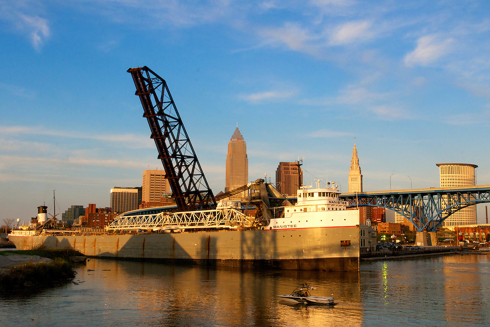 Cleveland Skyline on May 5, 2011. Cleveland Skyline over the Cuyahoga River looking East.
