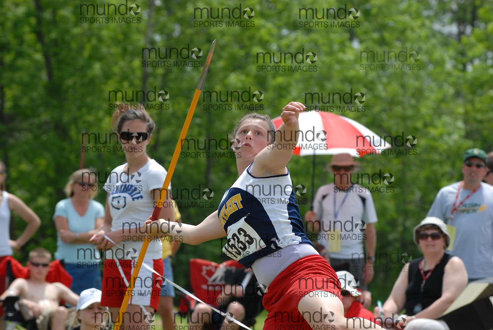 Hamilton, Ontario ---07/06/08--- Brittany Hicks of Saltfleet in Stoney Creek competes in the javelin at the 2008 OFSAA Track and Field meet in Hamilton, Ontario..Mark Butterwick