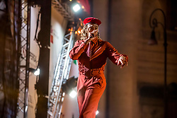 May 1, 2019 - Roma, Roma, Italy - Ghali, pseudonym of Ghali Amdouni, rapper, singer-songwriter and Italian record producer, performed live on the stage of Primo Maggio Concert..The ''May Day'' Concert is an event organized every year in Rome by the labor unions CGL, CISL and UIL to celebrate workers' rights with music. (Credit Image: © Luigi Rizzo/Pacific Press via ZUMA Wire)