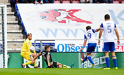 Will Grigg of Wigan Athletic scores his sides second goal  - Mandatory by-line: Matt McNulty/JMP - 16/09/2017 - FOOTBALL - DW Stadium - Wigan, England - Wigan Athletic v Bristol Rovers - Sky Bet League One
