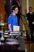 Quinn Anthony spells a word during the Columbus Metro Regional Spelling Bee Regional Saturday, March 16, 2013. The Regional Spelling Bee was sponsored by Ohio University's Scripps College of Communication and held in Margaret M. Walter Hall on OU's main campus.