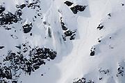 Verbier, Switzerland. March 20th 2010..X-Trem Verbier 2010 - Freeride World Tour.Bec des Rosses from Col des Gentianes.Swiss snowboarder Geraldine Fasnacht