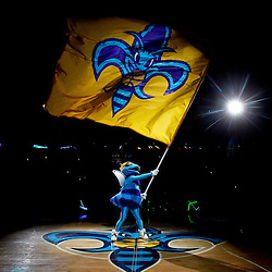 February 1, 2011; New Orleans, LA, USA; New Orleans Hornets mascot Hugo waves a team flag during introductions prior to tip off of a game against the Washington Wizards at the New Orleans Arena.   Mandatory Credit: Derick E. Hingle