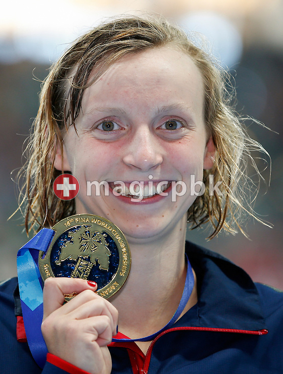 Katie Ledecky of the United States of America (USA) poses with his Gold medal after finishing first in the women's 400m Freestyle Final during the 16th FINA World Swimming Championships held at the Kazan arena in Kazan, Russia, Sunday, Aug. 2, 2015. (Photo by Patrick B. Kraemer / MAGICPBK)