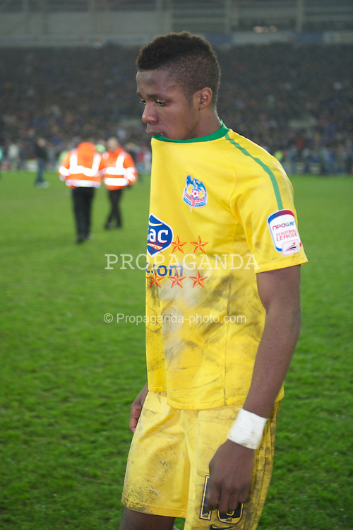 CARDIFF, WALES - Tuesday, January 24, 2012: Crystal Palace's Wilfried Zaha looks dejected as his side lose on penalties to Cardiff City during the Football League Cup Semi-Final 2nd Leg at the Cardiff City Stadium. (Pic by David Rawcliffe/Propaganda)