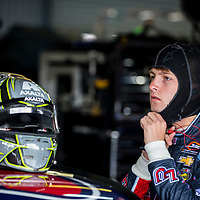 May 05, 2017 - Talladega, Alabama, USA: William Byron (9) hangs out in the garage during practice for the Spark Energy 300 at Talladega Superspeedway in Talladega, Alabama.