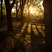 September 27, 2017 - New York, NY : People watch the sun set over the Hudson River, from Linden Terrace in Fort Tryon Park, upper Manhattan, New York City on a late summer evening. CREDIT: KARSTEN MORAN / REDUX PICTURES