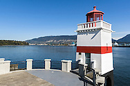 The Brockton Point Lighthouse at Brockton Point in Stanley Park, Vancouver, British Columbia, Canada