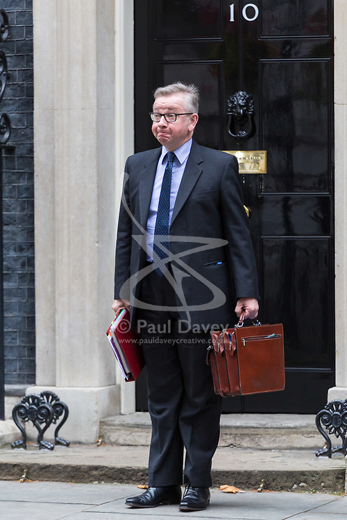London, October 10 2017. Secretary of State for Environment, Food and Rural Affairs Michael Gove attends the UK cabinet meeting at Downing Street. © Paul Davey