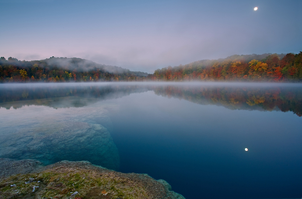 Autumn Foliage Reflections with Fog, Moon and Mineral Formations at Green Lakes State Park, Syracuse, New York, USA