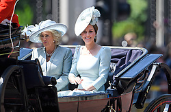 © Licensed to London News Pictures. 09/06/2018. London, UK. Camilla, Duchess of Cornwall and Catherine, Duchess of Cambridge, attend Trooping The Colour ceremony in London to mark the 92nd birthday of Queen Elizabeth II, Britain's longest reigning monarch. Photo credit: Ben Cawthra/LNP