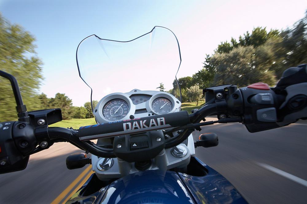 Riding the Dakar to work in Eden Prairie, MN.