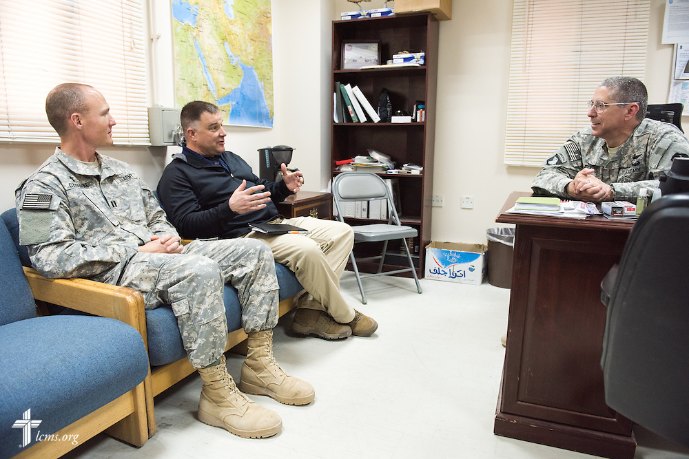 Army Capt. Chad Czischke, chaplain (left), and Rev. Craig G. Muehler, director of the LCMS Ministry to the Armed Forces (center), make visits on Sunday, March 22, 2015, at Camp Buehring in Kuwait. LCMS Communications/Erik M. Lunsford