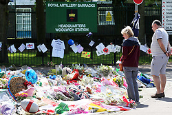 Flowers outside the Royal Artillery Barracks in Woolwich, South East London, where the murdered soldier Lee Rigby was stationed, Monday, 27th May 2013 Picture by :  Stephen Lock / i-Images
