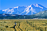 Fresh snow on West Spanish Peak as viewed from Huerfano Valley during the winter.  Colorado, USA