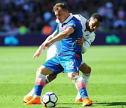 Martin Olsson of Swansea City battles with Xherdan Shaqiri of Stoke City-Mandatory by-line: Nizaam Jones/JMP- 13/05/2018 - FOOTBALL - Liberty Stadium - Swansea, Wales - Swansea City v Stoke City - Premier League