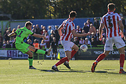 Forest Green Rovers George Williams(11) shoots at goal during the EFL Sky Bet League 2 match between Forest Green Rovers and Cheltenham Town at the New Lawn, Forest Green, United Kingdom on 20 October 2018.