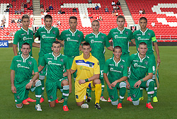 LIVERPOOL, ENGLAND - Tuesday, September 16, 2014: PFC Ludogorets Razgrad players line up for a team group photograph before the UEFA Youth League Group B match against Liverpool at Langtree Park. (Pic by David Rawcliffe/Propaganda)