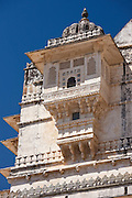 Detail of The City Palace of 76th Maharana of Mewar, Shriji Arvind Singh Mewar of Udaipur in the Zenana Mahal, Rajasthan, India