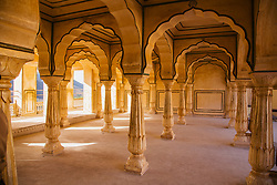A room of the Amber Fort of Jaipur at sunrise, Rajasthan, India,